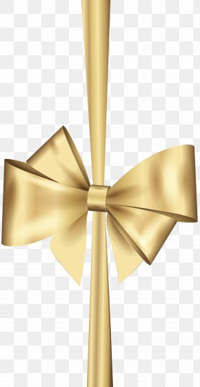 Gold Deco Bow Clip Art - Gold Ribbon Christmas Clip Art PNG
