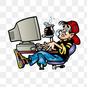 Drinking Man Playing Computer - System Administrator Clip Art PNG