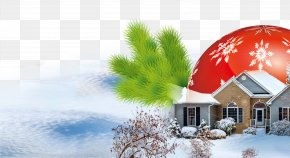 Snow Pine Branches Cabin - Christmas Tree, Snow PNG