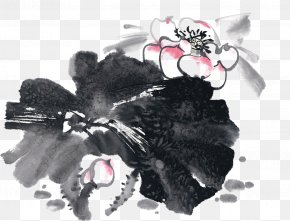 Chinese Ink Painting Style Lotus - Ink Wash Painting Chinese Painting Summer PNG