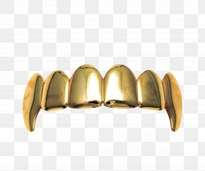 A Row Of Gold Teeth - Gold Grill Jewellery Tooth Fang PNG