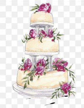 Wedding Cake Hand Painted - Wedding Cake Birthday Cake Layer Cake Chocolate Cake PNG