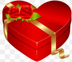 Red Heart Box With Red Roses PNG Clipart Image - Heart Box Valentine's Day Gift Clip Art PNG