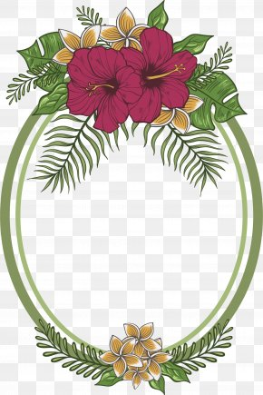 Hand Painted Purple Flower Round Frame - Floral Design Flower Drawing PNG