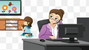 Watching TV At Home - Mother Working Parent Clip Art PNG