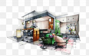 Restaurant Hand-painted Design - Drawing Architectural Rendering Interior Design Services Sketch PNG