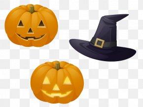 Halloween Pumpkin And Hat - Halloween Pumpkin Euclidean Vector Poster PNG