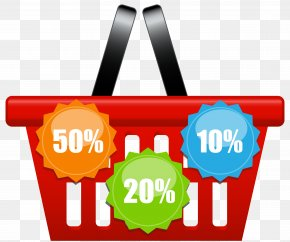 Shopping Basket With Discount Icons Clip Art Image - Shopping Cart Basket Clip Art PNG