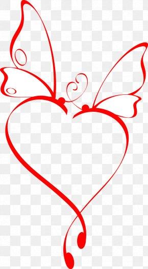 Line Butterfly Heart - Butterfly Heart Tattoo PNG