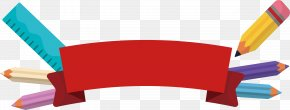 Pencil Ruler, Red Ribbon - Paper Pencil Red PNG