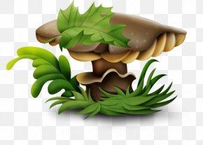 Hand-painted Leaves And Mushrooms - Lingzhi Mushroom Fungus PNG
