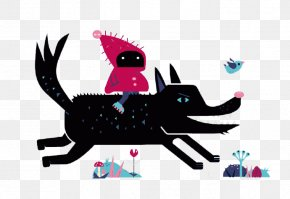 Riding A Wolf Child - Big Bad Wolf Gray Wolf Little Red Riding Hood Illustration PNG