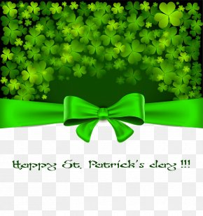 Clover And Green Bow Background Material Picture - Ireland Saint Patricks Day March 17 Holiday Irish People PNG