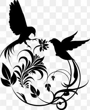 Swirl Artwork - Hummingbird Floral Design PNG