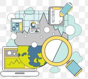 Magnifying Glass And Electronic Data - Magnifying Glass Data Illustration PNG