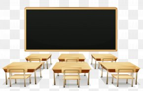 School Classroom With Blackboard And Desks Clipart Picture - Classroom Student Clip Art PNG