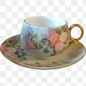 Hand-painted Carnations - Coffee Cup Saucer Porcelain Mug PNG