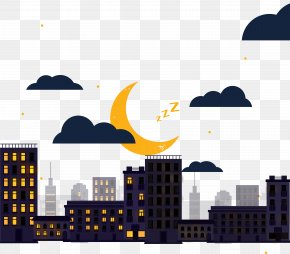 City Moonlight - City Cartoon Download PNG