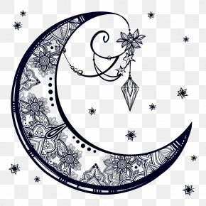 Moon Decoration - Drawing Crescent Moon PNG
