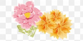 Chinese Rose - Peony Floral Design Watercolor Painting Flower PNG
