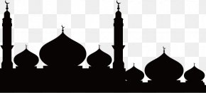 Mosque Silhouette - Temple Mosque Silhouette PNG