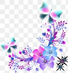 Colorful Flowers Of Dreams - Butterfly Flower Euclidean Vector Color PNG