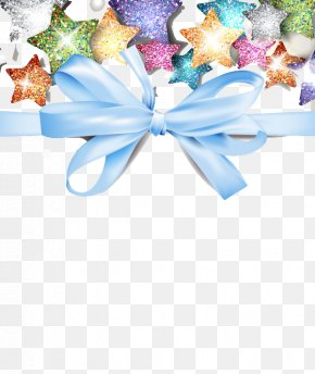 Bows And Stars - Ribbon Blue Gift Pattern PNG