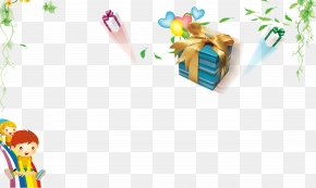 Cartoon Child Tree Gift Box Decoration Background - Cartoon Drawing Child PNG
