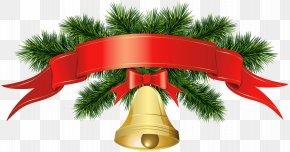 Christmas Golden Bell Banner Transparent Clip Art Image - Christmas Decoration Santa Claus Clip Art PNG