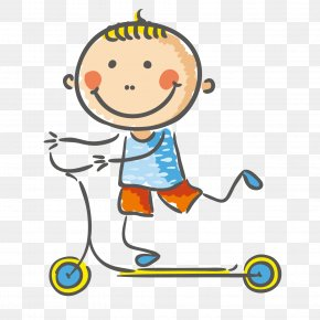 Scooter Boy - Child Play Clip Art PNG