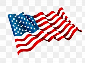 Vector Hand-painted American Flag Flying - Flag Of The United States Clip Art PNG