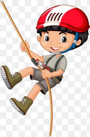 Vector Painted Boy Climbing - Rope Climbing Clip Art PNG