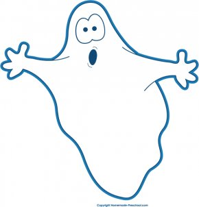 Black And White Halloween Clipart - Happy Ghost Halloween Clip Art PNG
