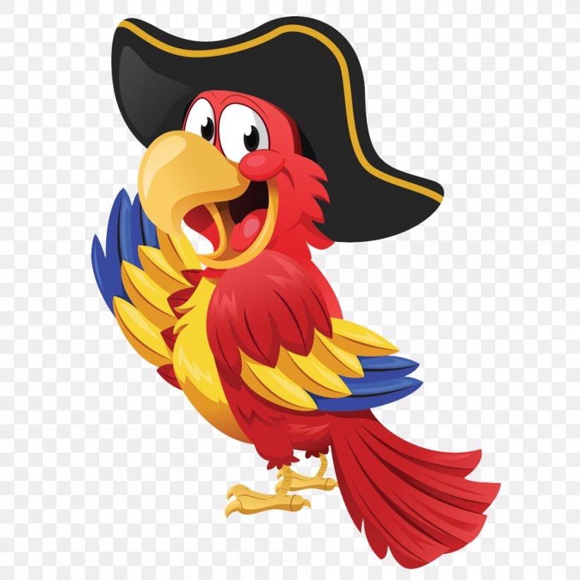 Pirate Parrot Piracy Clip Art, PNG, 1000x1000px, Parrot, Art, Beak, Bird, Cartoon Download Free