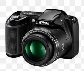 720pBlack Point-and-shoot Camera Nikon Coolpix L340 20.2 Mp Digital Camera With 28x Optical ZoomCamera - Nikon Coolpix L340 20.2 MP Compact Digital Camera PNG
