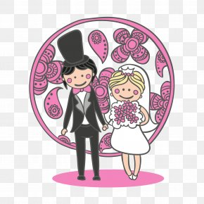 Cartoon Bride And Groom Vector Illustration PNG