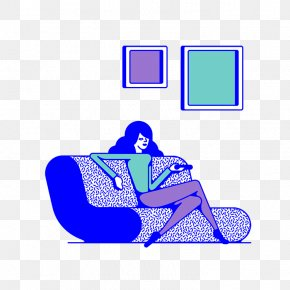 Flat And Girls Sofa Watching TV - Television Flat Design Clip Art PNG
