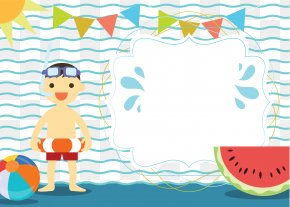 Creative Pool Party Invitation Card Vector - Wedding Invitation Party Convite Swimming Pool Clip Art PNG