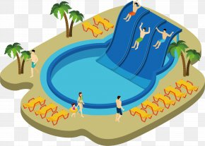 Swimming Pool Vector Diagram - Water Park Swimming Pool Illustration PNG