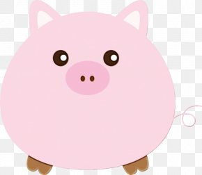 Livestock Snout - Pink Cartoon Domestic Pig Suidae Snout PNG
