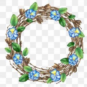 Blue Floral Wreath - Flower Leaf Branch PNG