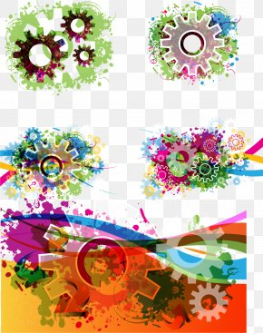 Colorful Gear Background Vector - Gear Color PNG