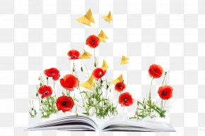 Books On The Flowers - Common Poppy Opium Poppy Flower PNG
