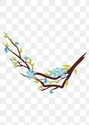 Red Twig Vector Blue Floral Decorations - Flower Tree Euclidean Vector PNG