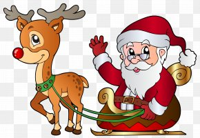 Santa And Rudolph Clipart Image - Rudolph Santa Claus Christmas Reindeer Clip Art PNG