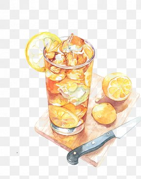 Hand-painted Lemon Tea - Ice Cream Coffee Lemonade Food Watercolor Painting PNG