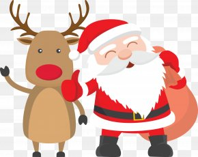 Vector Santa Claus With Elk - Santa Claus Reindeer Father Christmas Child PNG