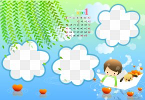 Calendar Template - Sky Text Blue Cartoon Illustration PNG