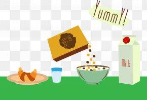Nutrition Breakfast Vector - Breakfast Cereal Oatmeal Cows Milk PNG