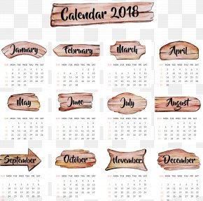 Watercolor Board 2018 Calendar Templates - Calendar Time Year Wallpaper PNG
